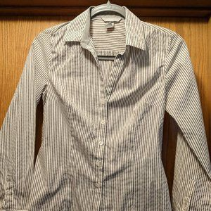 H&M Fitted Grey & White Striped Button Front Shirt
